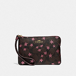 COACH F39045 Corner Zip Wristlet In Signature Canvas With Pop Star Print BROWN MULTI/LIGHT GOLD