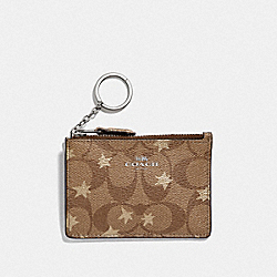 COACH F39047 Mini Skinny Id Case In Signature Canvas With Pop Star Print KHAKI MULTI /SILVER