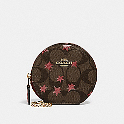 COACH F39049 Round Coin Case In Signature Canvas With Pop Star Print BROWN MULTI/LIGHT GOLD