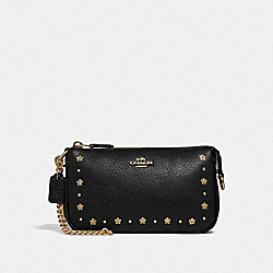 COACH F39051 - LARGE WRISTLET 19 WITH FLORAL RIVETS BLACK/LIGHT GOLD
