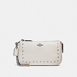 COACH F39051 Large Wristlet 19 With Floral Rivets CHALK/SILVER