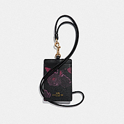 COACH F39055 Id Lanyard With Halftone Floral Print BLACK/WINE/LIGHT GOLD