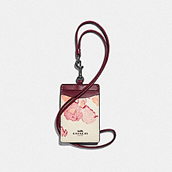 COACH F39055 Id Lanyard With Halftone Floral Print CHALK/RED/BLACK ANTIQUE NICKEL
