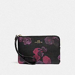 COACH F39056 Corner Zip Wristlet With Halftone Floral Print BLACK/WINE/LIGHT GOLD