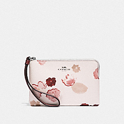 COACH F39056 Corner Zip Wristlet With Halftone Floral Print CHALK/RED/BLACK ANTIQUE NICKEL