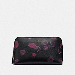COACH F39058 Cosmetic Case 22 With Halftone Floral Print BLACK/WINE/LIGHT GOLD