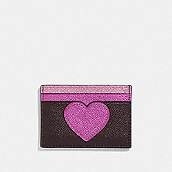COACH F39062 - CARD CASE OXBLOOD MULTI /SILVER
