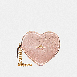 COACH F39068 Heart Coin Case ROSE GOLD/LIGHT GOLD