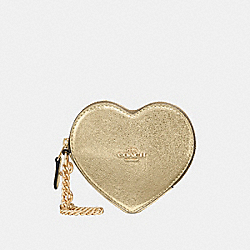 COACH F39068 Heart Coin Case WHITE GOLD/LIGHT GOLD