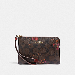 CORNER ZIP WRISTLET IN SIGNATURE CANVAS WITH FLORAL BUNDLE PRINT - F39070 - BROWN/METALLIC CURRANT/LIGHT GOLD
