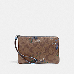 COACH F39070 Corner Zip Wristlet In Signature Canvas With Floral Bundle Print KHAKI BLUE MULTI/SILVER