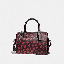 COACH F39072 Mini Bennett Satchel With Deer Spot Print RASPBERRY/SILVER
