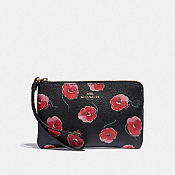 COACH F39074 Corner Zip Wristlet With Poppy Print BLACK/MULTI/LIGHT GOLD