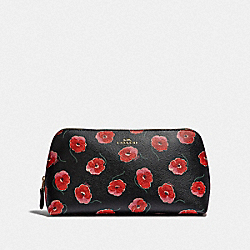 COACH F39076 - COSMETIC CASE 22 WITH POPPY PRINT BLACK/MULTI/LIGHT GOLD