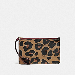 COACH F39079 Small Wristlet With Leopard Print NATURAL/LIGHT GOLD