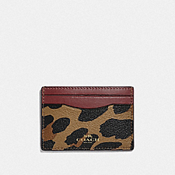 COACH F39080 Card Case With Leopard Print NATURAL/LIGHT GOLD