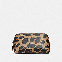 COACH F39082 Cosmetic Case 17 With Leopard Print NATURAL/LIGHT GOLD