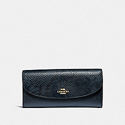 SLIM ENVELOPE WALLET - F39083 - METALLIC DENIM/LIGHT GOLD