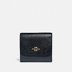 COACH F39084 Small Wallet METALLIC DENIM/LIGHT GOLD