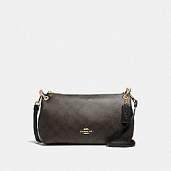 COACH F39087 - CHARLEY CROSSBODY IN SIGNATURE CANVAS BROWN/BLACK/LIGHT GOLD