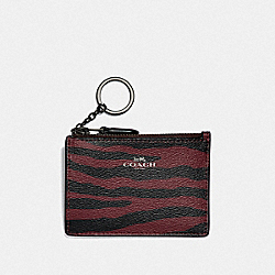 COACH F39092 Mini Skinny Id Case With Tiger Print DARK RED/BLACK ANTIQUE NICKEL