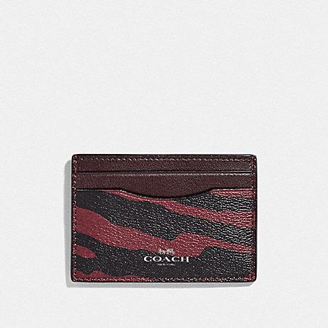 COACH F39093 CARD CASE WITH TIGER PRINT DARK-RED/BLACK-ANTIQUE-NICKEL