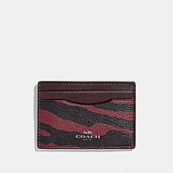 COACH F39093 - CARD CASE WITH TIGER PRINT DARK RED/BLACK ANTIQUE NICKEL