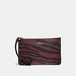 COACH F39094 - SMALL WRISTLET WITH TIGER PRINT DARK RED/BLACK ANTIQUE NICKEL
