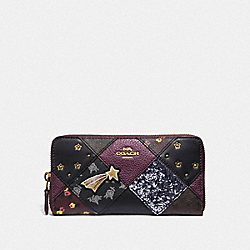 ACCORDION ZIP WALLET WITH LUCKY STAR PATCHWORK - F39095 - RASPBERRY MULTI/LIGHT GOLD