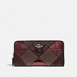 COACH F39096 Accordion Zip Wallet With Patchwork OXBLOOD MULTI/LIGHT GOLD