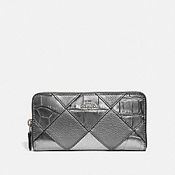 COACH F39096 Accordion Zip Wallet With Patchwork GUNMETAL MULTI/SILVER
