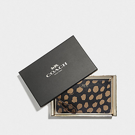 COACH F39097 BOXED SMALL WRISTLET WITH DEER SPOT PRINT BLACK/LT SADDLE/LIGHT GOLD