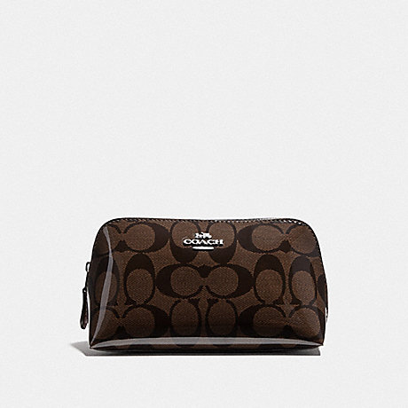 COACH F39098 COSMETIC CASE 17 IN SIGNATURE CANVAS BROWN/RED/SILVER