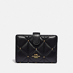 COACH F39102 - MEDIUM CORNER ZIP WALLET WITH STUDDED DIAMOND QUILTING BLACK/LIGHT GOLD