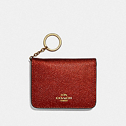 COACH F39105 Bifold Card Case METALLIC CURRANT/LIGHT GOLD