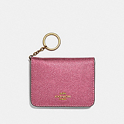 COACH F39105 Bifold Card Case METALLIC ANTIQUE BLUSH/LIGHT GOLD
