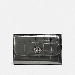 MEDIUM ENVELOPE WALLET - F39106 - GUNMETAL/SILVER