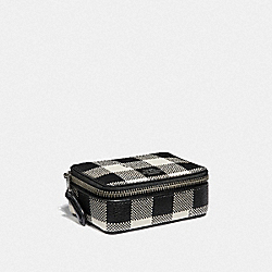 COACH F39107 Triple Pill Box With Gingham Print BLACK/MULTI/SILVER