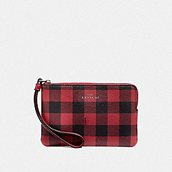 COACH F39109 Corner Zip Wristlet With Gingham Print RUBY MULTI/BLACK ANTIQUE NICKEL