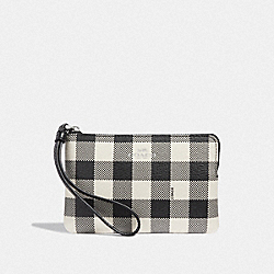 COACH F39109 Corner Zip Wristlet With Gingham Print BLACK/MULTI/SILVER