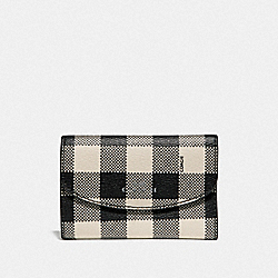 COACH F39111 Key Case With Gingham Print BLACK/MULTI/SILVER