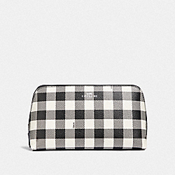 COACH F39112 Cosmetic Case 22 With Gingham Print BLACK/MULTI/SILVER
