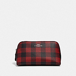 COACH F39113 - COSMETIC CASE 17 WITH GINGHAM PRINT RUBY MULTI/BLACK ANTIQUE NICKEL