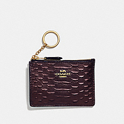 COACH F39117 Mini Skinny Id Case OXBLOOD 1/LIGHT GOLD