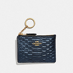 MINI SKINNY ID CASE - F39117 - METALLIC DENIM/LIGHT GOLD