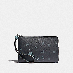 COACH F39120 Corner Zip Wristlet With Shooting Stars Print NAVY/CLOUD MULTI/SILVER