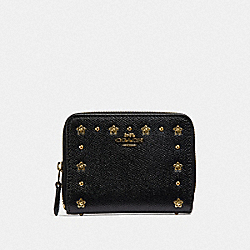 COACH F39125 Small Zip Around Wallet With Floral Rivets BLACK/LIGHT GOLD