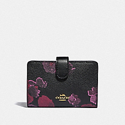 COACH F39127 Medium Corner Zip Wallet With Halftone Floral Print BLACK/WINE/LIGHT GOLD