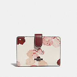COACH F39127 Medium Corner Zip Wallet With Halftone Floral Print CHALK/RED/BLACK ANTIQUE NICKEL