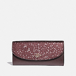 BOXED SLIM ENVELOPE WALLET WITH HEART GLITTER - COACH F39130 - RASPBERRY/LIGHT GOLD